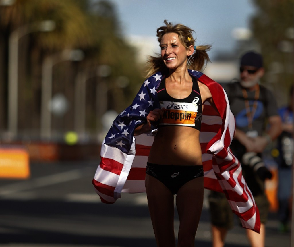 Photo from La Times where Lauren was 1st American at the LA Marathon this year