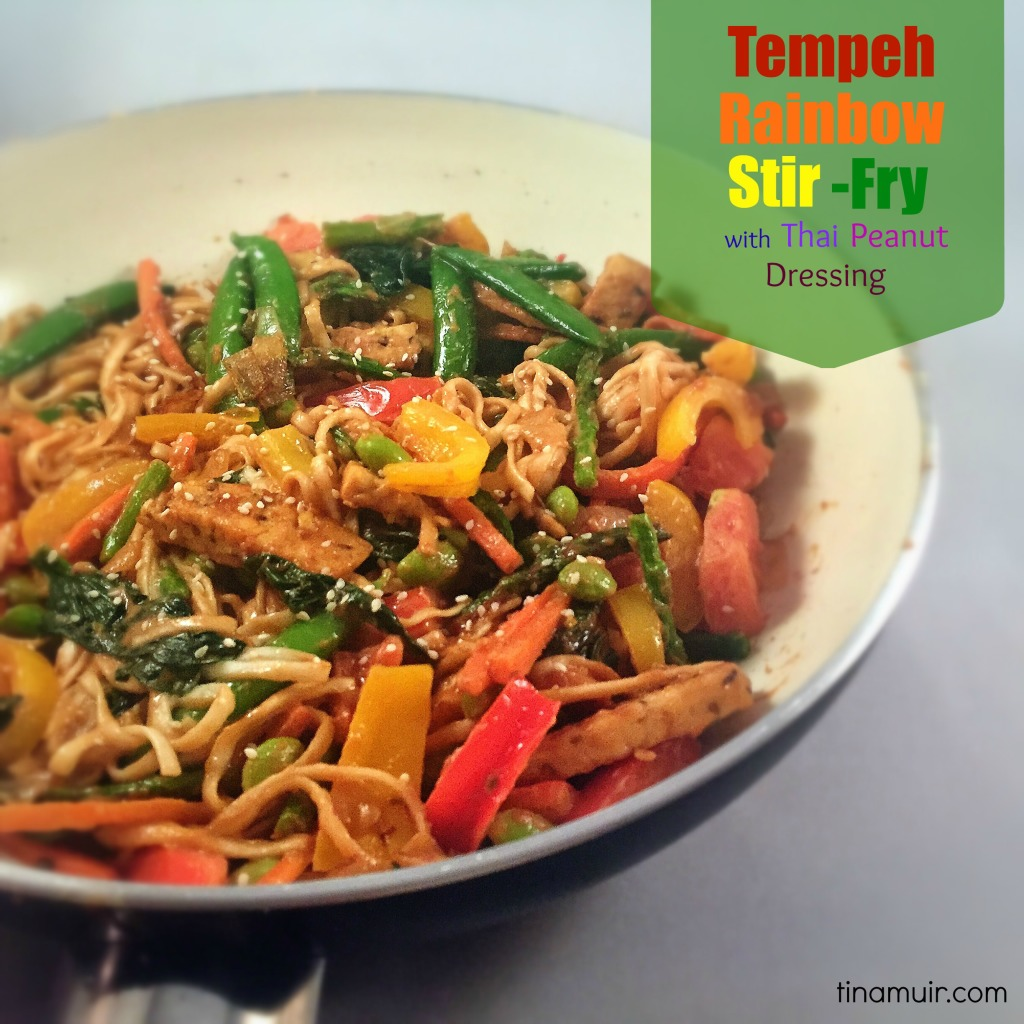This Tempeh Rainbow Stir Fry with Thai Peanut Dressing from elite runner Tina Muir is a delicious, healthy, meatless monday meal!