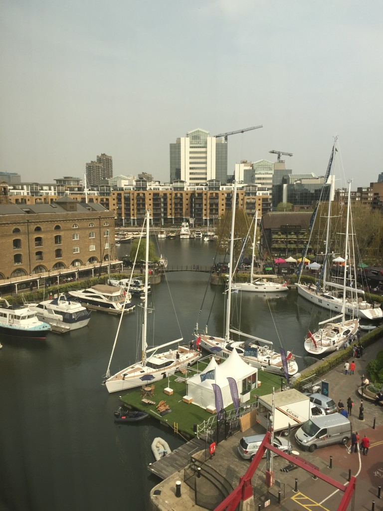 The view from my hotel room- St Katharines Docks