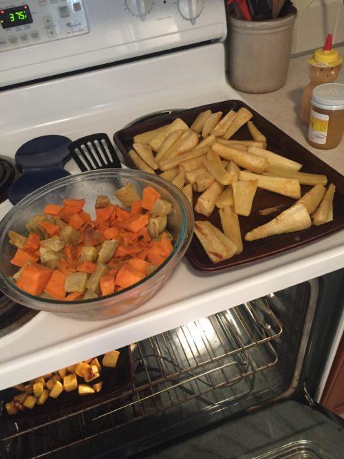 Tina prepared vegetables